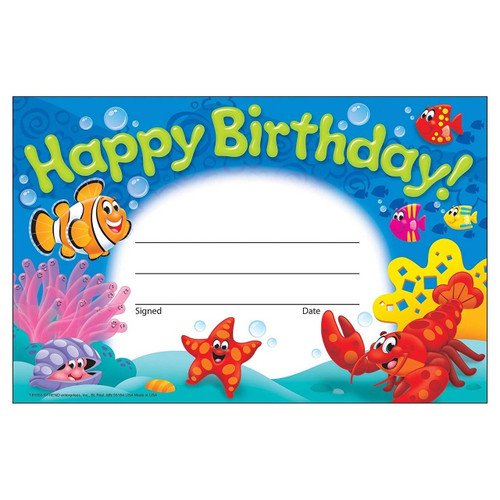Trend Enterprises Inc 30 Happy Birthday Sea Buddies certificates School teacher recognition awards