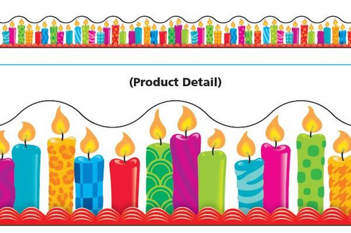 Trend Enterprises Inc Classroom Trimmers Notice Board Display Borders - Birthday Candles