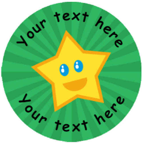 Sticker Stocker 144 Happy Star Personalised Green Background 30 mm Reward Stickers for School Teachers, Parents and Nursery