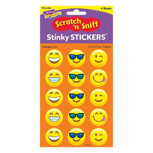 Trend Enterprises Inc 60 Emoji Cheer Orange Scented Stickers Scratch n Sniff Stinky Reward Stickers