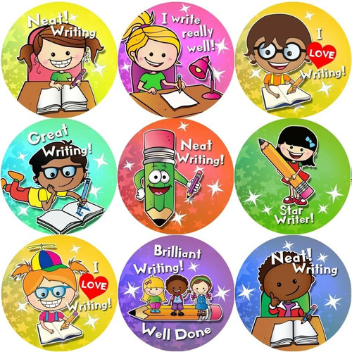 Sticker Stocker 144 Writing Awards 30 mm Reward Stickers for School Teachers, Parents and Nursery