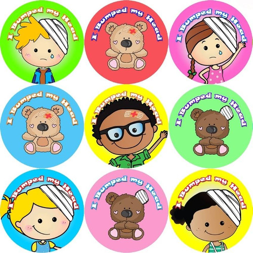 Sticker Stocker 144 I Bumped My Head 30mm Childrens Bravery Reward Stickers for Teachers or Nurses