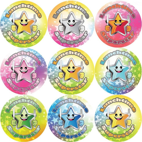 Sticker Stocker 144 Lunchtime Superstar 30 mm Reward Stickers for Teachers, Parents and Party Bags