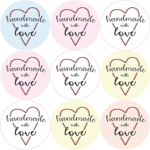 Sticker Stocker 144 Handmade with love 30mm Stickers Glossy home crafting labels