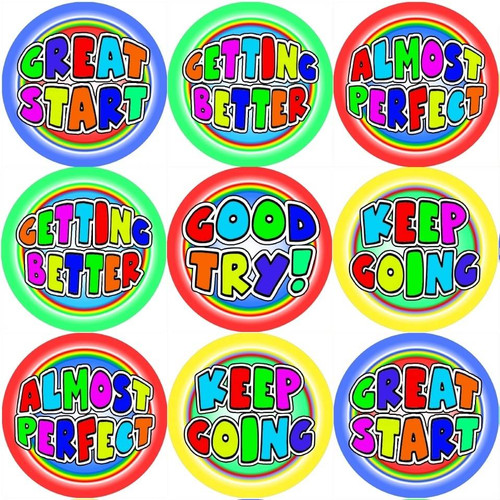 Sticker Stocker 144 Almost Perfect Praise Words 30mm Stickers for Teachers, Parents and Party Bags