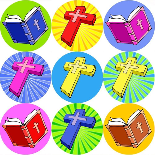 Sticker Stocker 144 Bibles and Crosses 30mm Childrens Xmas Reward Stickers for Teachers or Parents