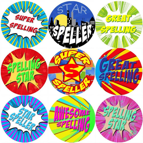Sticker Stocker 144 Superhero Speller 30 mm Reward Stickers for School Teachers, Parents and Nursery