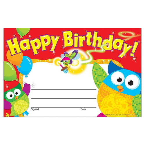 Trend Enterprises Inc 30 Happy Birthday Owl-Stars certificates School teacher recognition awards