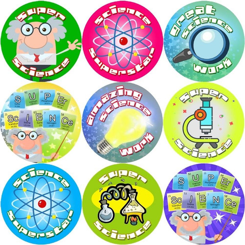 Sticker Stocker 144 Super Science 30mm Reward Stickers for Teachers, Parents and Party Bags