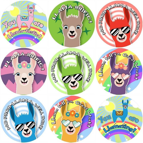 Sticker Stocker 144 Llama Praise Words 30mm Reward Stickers for Teachers and Parents