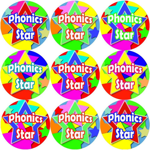 Sticker Stocker 144 Phonics Star 30 mm Reward Stickers for School Teachers, Parents and Nursery