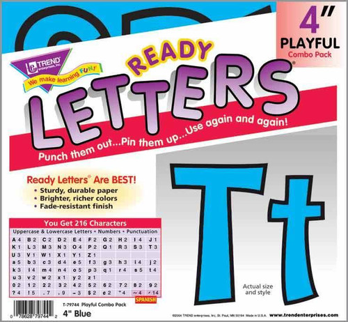 Trend Enterprises Inc Display Board Ready Letters - Blue Playful 4 combo pack
