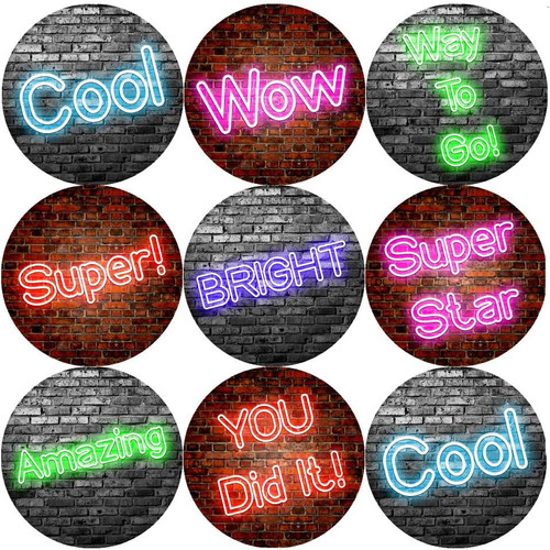 Sticker Stocker 144 Neon Praise Words 30mm Round Childrens Reward Stickers for Teachers, Parents and Party Bags
