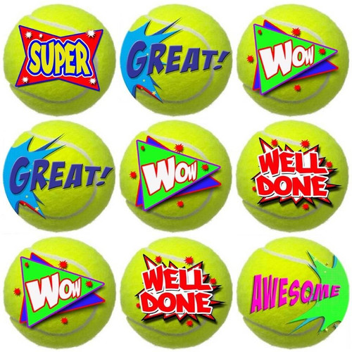 Sticker Stocker 144 Tennis Praise Words 30mm Reward Stickers for Teachers, Parents and Party Bags
