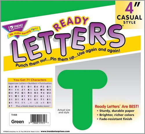 Trend Enterprises Inc Display Board Ready Letters - Green 4 Casual