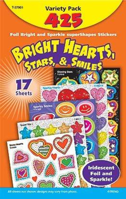Trend Enterprises Inc Bright Hearts, Stars, and Smiles Reward Sticker Variety Pack