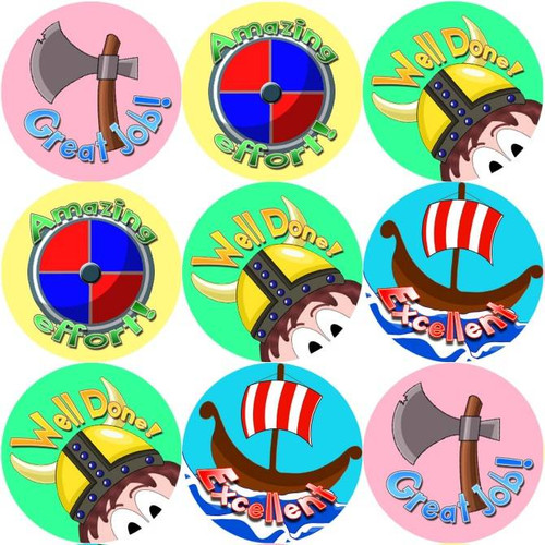 Sticker Stocker 144 Viking Praise Words - History Teacher Reward Stickers Size 30 mm