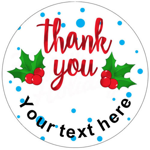 Sticker Stocker 144 Personalised Thank you Christmas 30mm Glossy Stickers Labels