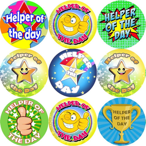 Sticker Stocker 144 Helper of the Day 30 mm Reward Stickers for Teachers, Parents and Party Bags