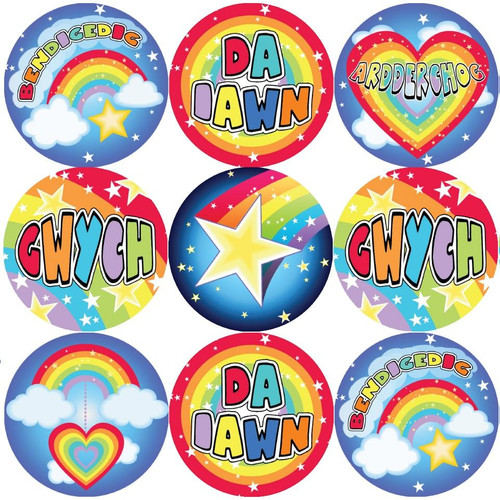 Sticker Stocker 144 Welsh Rainbows and Stars 30mm Reward Stickers for Teachers, Parents
