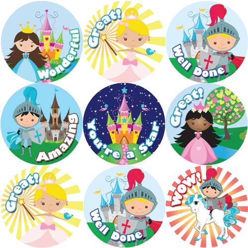 Sticker Stocker 144 Princess and Knights Praise Words 30mm Stickers for Teachers, Parents and Party Bags