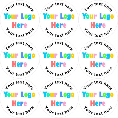 Sticker Stocker 144 Personalised Company Logo 30mm Round Glossy Stickers Labels