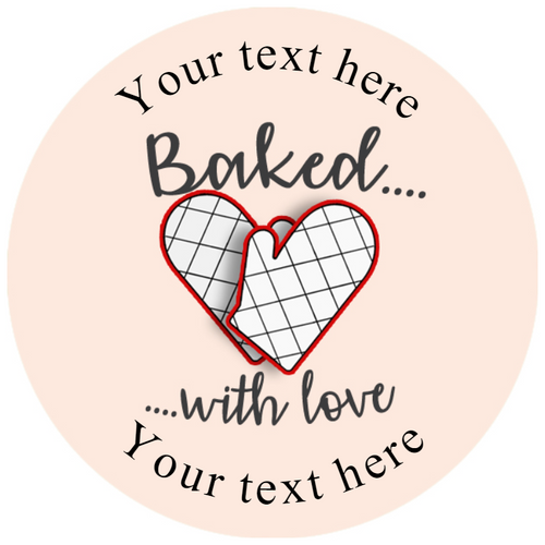 Sticker Stocker 144 Personalised Baked with Love 30mm Glossy Stickers Labels