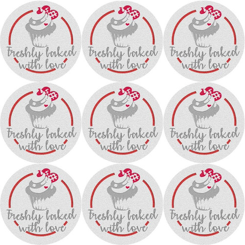 Sticker Stocker 144 Freshly Baked With Love Glossy Stickers Home Baking Gift Packaging Seal Labels