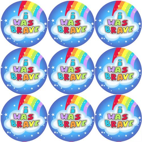 Sticker Stocker 144 I Was Brave Rainbows 30mm Childrens Bravery Reward Stickers for Teachers or Nurses