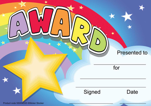 Sticker Stocker 30 Rainbow Award certificates for school teachers, 250gsm A5 silk finish card