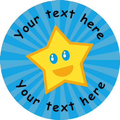 Sticker Stocker 144 Happy Star Personalised Blue Background 30 mm Reward Stickers for School Teachers, Parents and Nursery