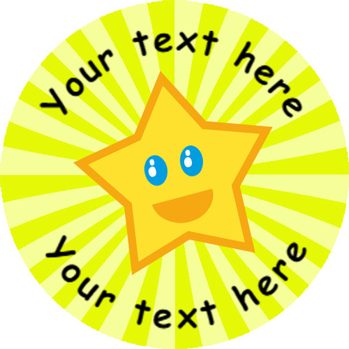 Sticker Stocker 144 Happy Star Personalised Yellow Background 30 mm Reward Stickers for School Teachers, Parents and Nursery