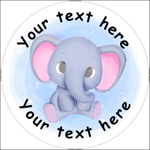 Sticker Stocker 144 Blue Elephants Personalised 30 mm Reward Stickers for School Teachers, Nursery, Baby Showers