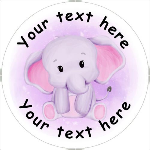 Sticker Stocker 144 Pink Elephants Personalised 30 mm Reward Stickers for School Teachers, Nursery, Baby Showers