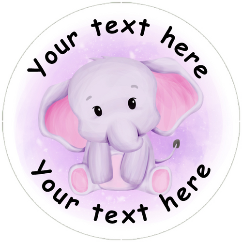 Sticker Stocker 144 Pink and Blue Elephants Personalised 30 mm Reward Stickers for School Teachers, Nursery, Baby Showers