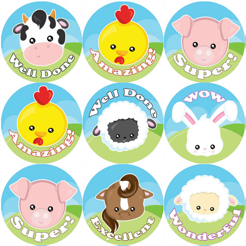Sticker Stocker 144 Farmyard Animals Praise Words 30mm Stickers for Teachers, Parents and Party Bags