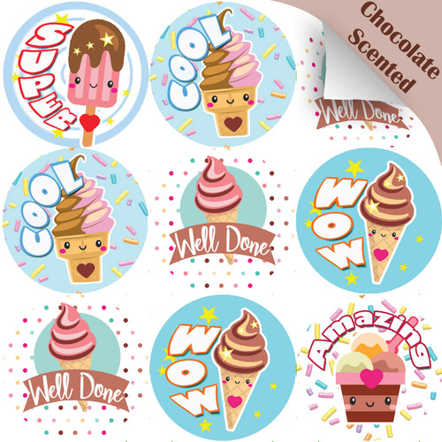 Sticker Stocker 120 Ice Cream Praise Words 30mm Chocolate Scented Reward Stickers for Teachers, Parents and Party Bags