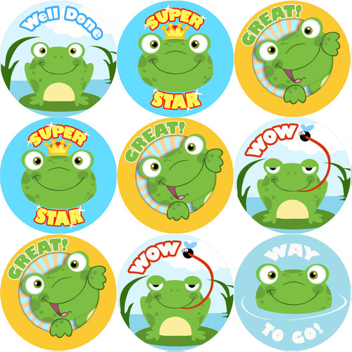 Sticker Stocker 144 Fun Frogs Praise Words 30mm Stickers for Teachers, Parents and Party Bags