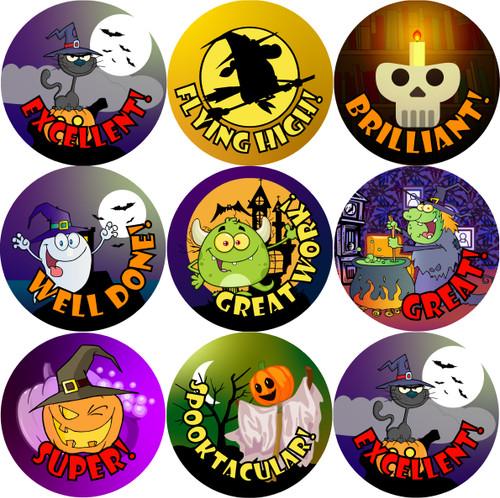 Sticker Stocker 144 Halloween Praise Words 30mm Round Children's Reward Stickers for Teachers or Parents