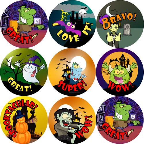 Sticker Stocker 144 Halloween Praise Words (Pack 2) 30mm Round Children's Reward Stickers for Teachers or Parents