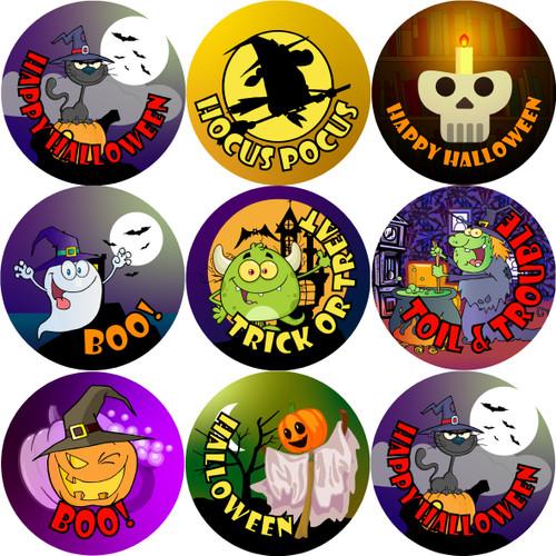 Sticker Stocker 144 Halloween Trick or Treat (Pack 1) 30mm Round Children's Reward Stickers for Teachers or Parents