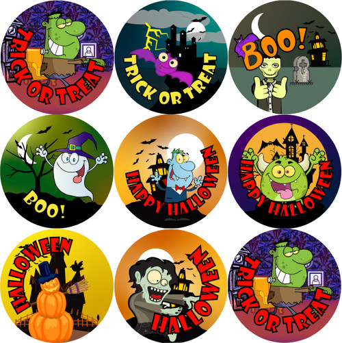 Sticker Stocker - 144 Halloween Trick or Treat (Pack 2) 30mm Round Children's Reward Stickers for Teachers, Parents and Party Bags