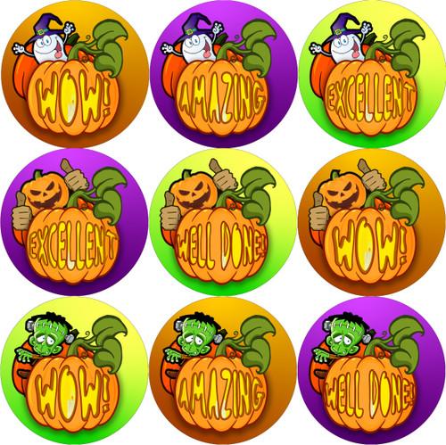 Sticker Stocker - 144 Halloween Pumpkin Praise Words 30mm Round Children's Reward Stickers for Teachers, Parents and Party Bags