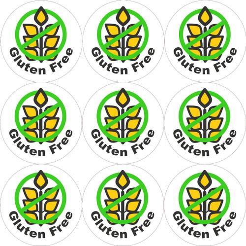 Sticker Stocker - 144 Gluten Free  - Green - 30mm Glossy Labels