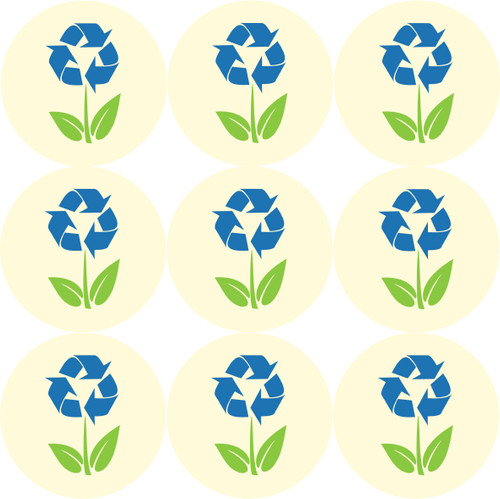 Sticker Stocker 144 Recycled Flowers themed 30mm Stickers Glossy  Labels