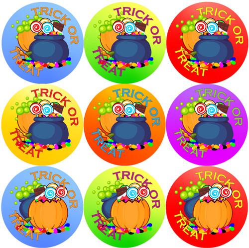 Sticker Stocker 144 Halloween Candy 30mm Trick or Treat Children's Reward Stickers for Teachers or Parents