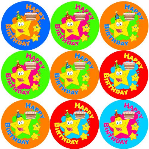 Sticker Stocker 144  Birthday Star Themed 30mm Children's Reward Stickers for Teachers or Parents