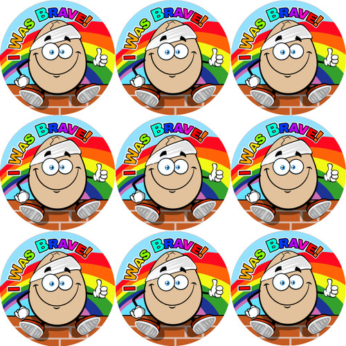Sticker Stocker - 144 Bumpty Dumpty Bravery 30mm Children's Bravery Reward Stickers for Teachers or Nurses