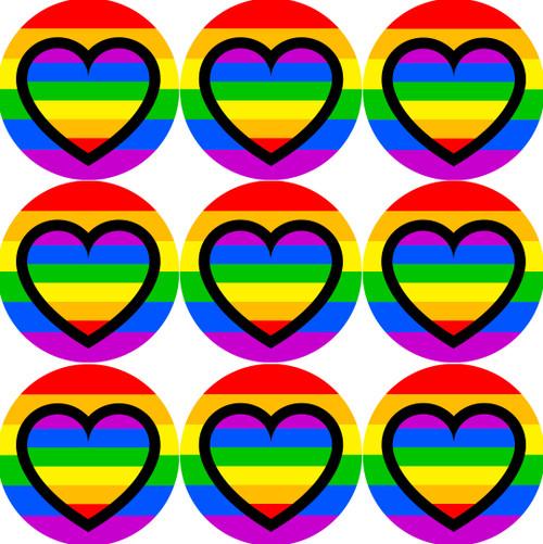 Sticker Stocker - 144 Rainbow Hearts 30mm Rainbow themed Heart Stickers