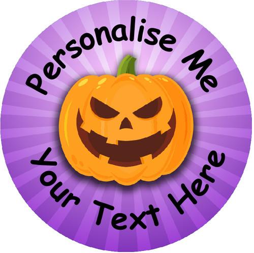 Sticker Stocker - 144 Personalised Purple Pumpkins 30mm Reward Stickers for School Teachers, Parents and Nursery
